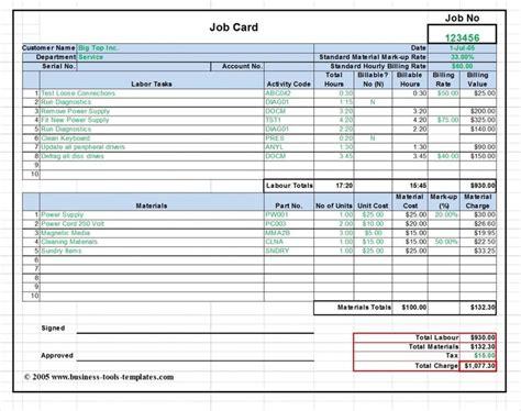workshop job card labor material cost estimator