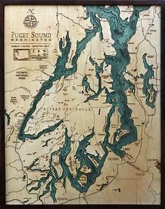 Puget Sound Bathymetric Wood Chart Sound Map Lake Art