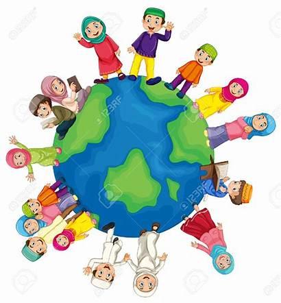 Muslim Clipart Cartoon Welt Around Musulman Children