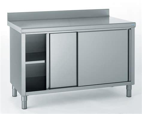 cuisine inox professionnelle meuble de rangement bas inox 2 portes coulissantes avec