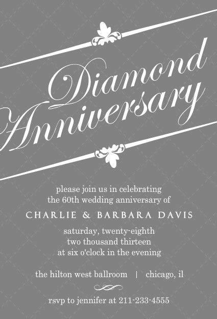 elegant gray diamond  anniversary invitation