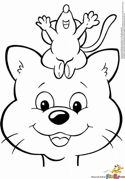 Cat Mouse Coloring Printable Mice Chase Colouring