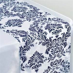 Navy Blue Flocking Table Runner EFavorMart