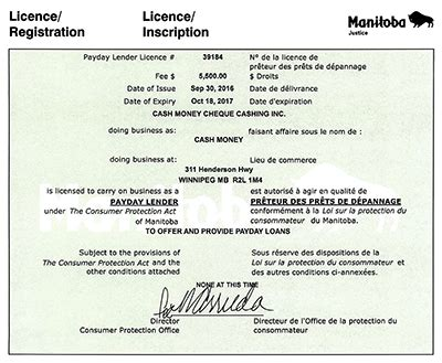 Modification License Winnipeg by Money Payday Loans Up To 1 500