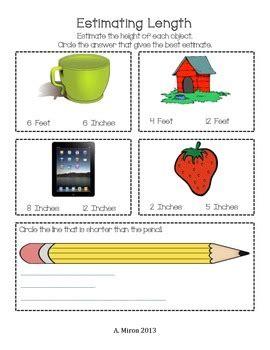 estimating length worksheet by adeline miron teachers pay teachers
