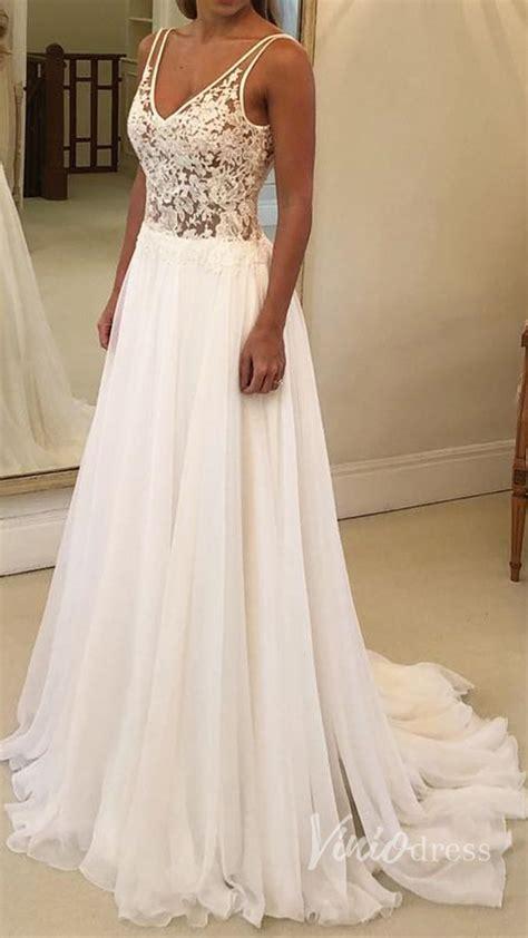Cheap Long Chiffon Beach Wedding Dresses V Neck Lace ...