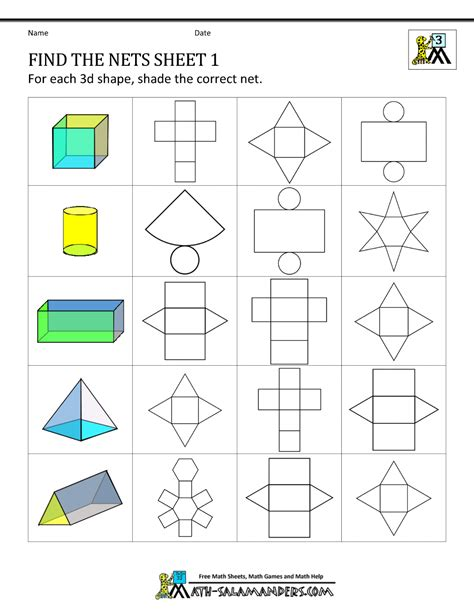 3d shapes worksheets find the nets 1 for my future