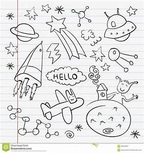 Kosmosu Doodle Notatnika Set Obrazy Stock - Obraz: 25843834