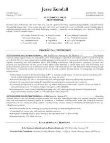 resume for car sales sle resume for salesperson images