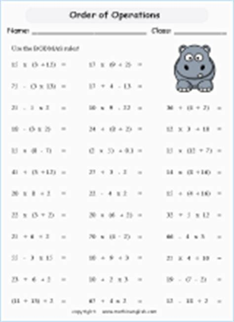 basic and not too difficult bodmas worksheet that focuses on the rules rather than on the