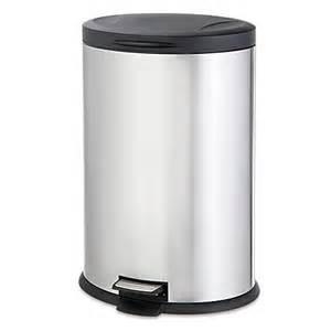salt stainless steel oval 40 liter step trash can bed