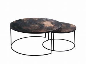 Coffee table contemporary nesting coffee table round for Round stacking coffee table