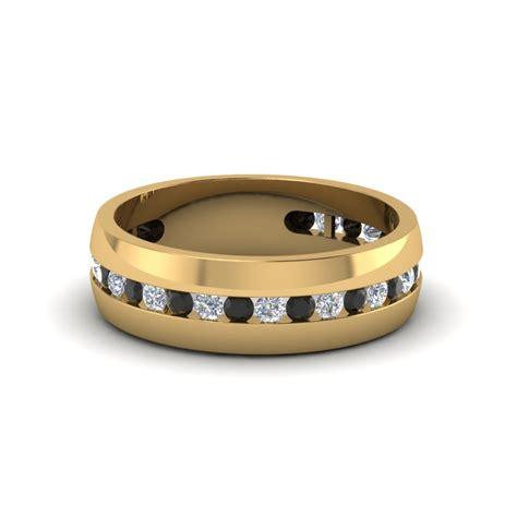 mens channel wedding band  black diamond   yellow