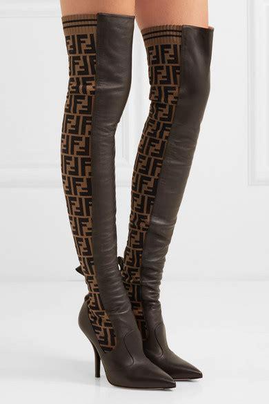 fendi rockoko logo jacquard stretch knit  leather
