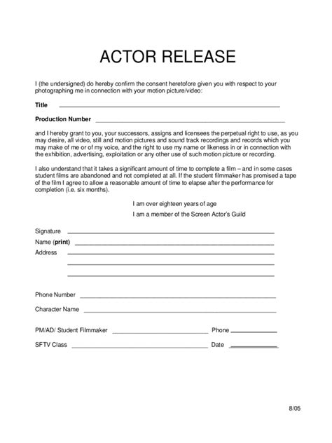 actor release form   templates   word excel
