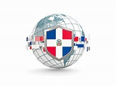 Globe with shield. Illustration of flag of Dominican Republic