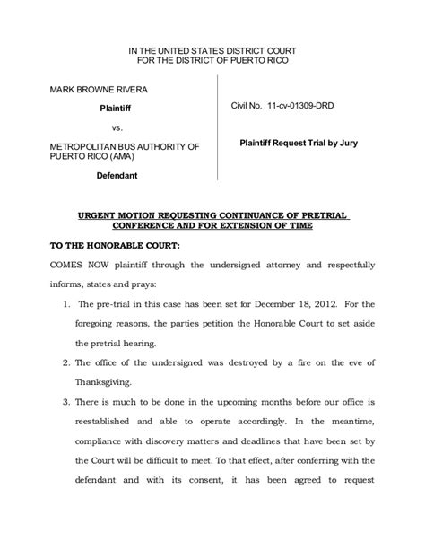 write  court continuance letter