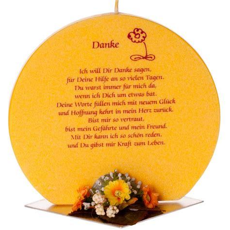 geschenkskerze aus palm 246 l mit spruch danke kerzen zum