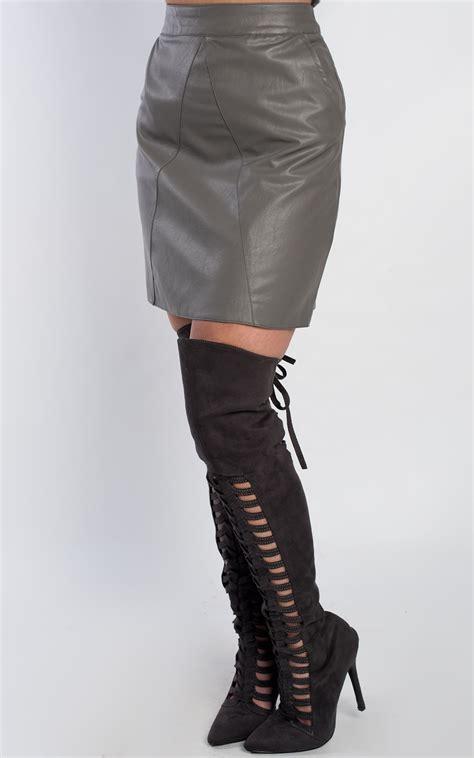 High Waist Faux Leather high waist faux leather cut skirt ebay