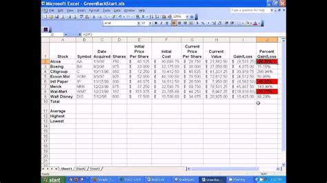 microsoft excel setting  stocks spreadsheet youtube