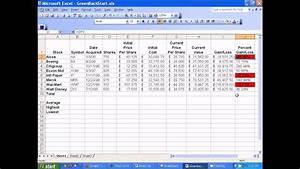 Microsoft Excel - Setting Up Stocks Spreadsheet
