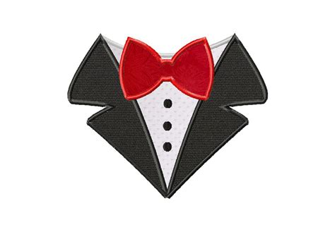 bow tie shirt machine applique design daily embroidery