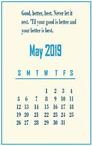 Calendar May 2020 Template May 2019 Motivational Quotes Calendar Template