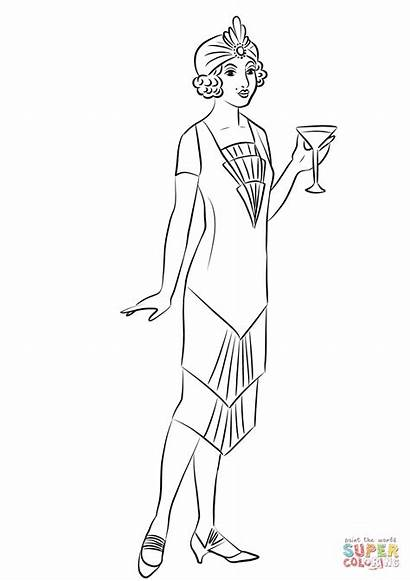Coloring Woman Wearing Pages 1920 Cocktail 1920s