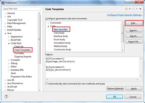 eclipse modify templates how to add copyright license header for java source files