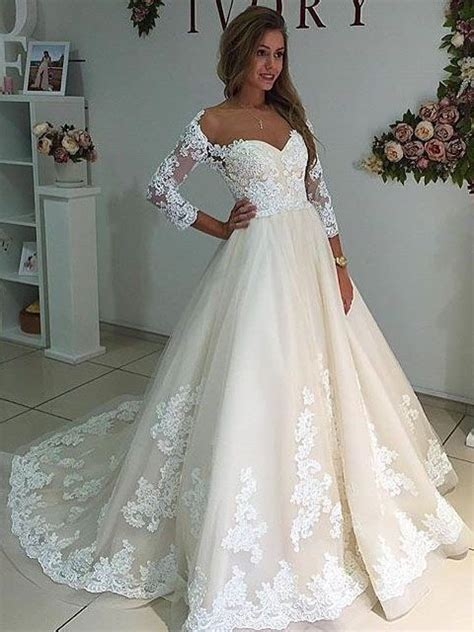 Unique A Line Long Sleeves White Lace Long Wedding Dress