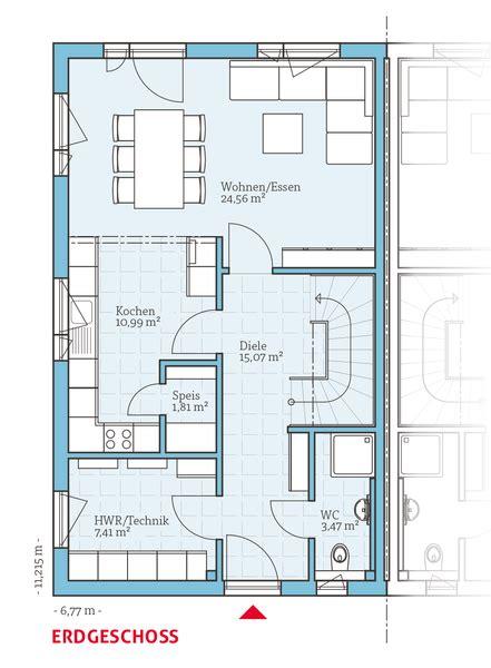 Grundriss Haus Schmales Grundstück by Grundriss Eg Fertighaus Doppelhaus 35 124 63 31 M 178