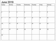 June 2019 Calendar Template calendar for 2019