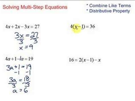 Lesson 72 Solving Multistep Equations Youtube