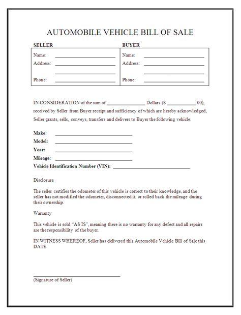 printable sample car bill  sale form legal template