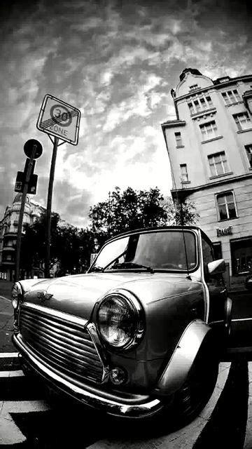 vintage mini cooper black white wallpaper mobile mini