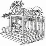 Gazebo Tub Plans Diy Backyard Garden Spa Drawings Gazebos Build Cedar Drawing Building Sketch Plan Pergola Outdoor Pavilion Western Enclosures sketch template