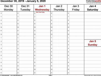 Weekly Calendar Printable Word Calendars Templates Blank