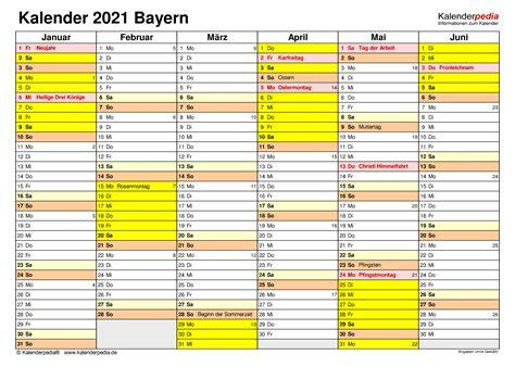 Jahreskalender (1 seite), halbjahreskalender (2 seiten), quartalskalender (4 seiten) oder monatskalender (12 seiten). Jahreskalender 2021 Bayern Zum Ausdrucken Kostenlos ...