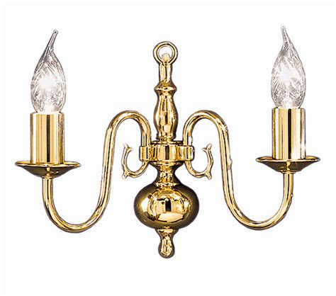 franklite delft 2 light wall light polished brass finish