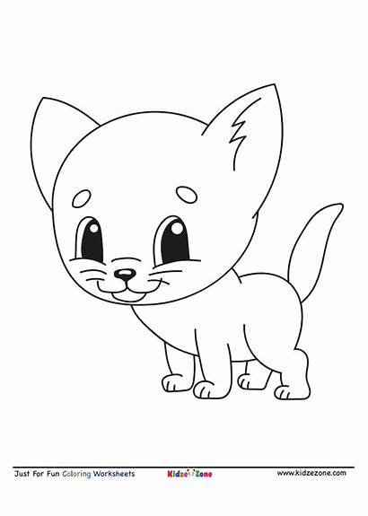 Coloring Cartoon Kitten Cat Letter Worksheet Kidzezone