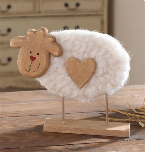 holz schaf mit wolle und holzherz ostern wood crafts