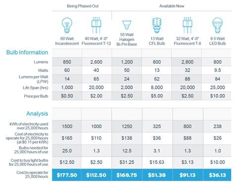 Lightbulb Efficiency Comparison Chart and Analysis