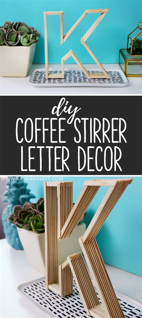 diy letter room decor    coffee stirrers