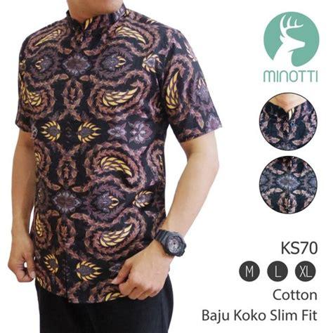 jual limited baju koko batik kemeja muslim batik slim fit muslim ks70 koko modis di