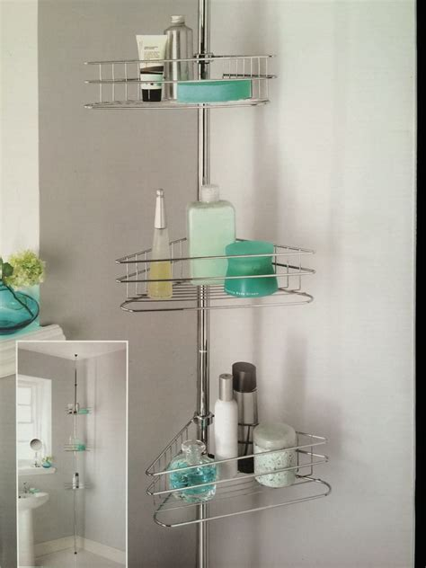 shower corner shelf beldray 3tier shower caddy tension rod bathroom