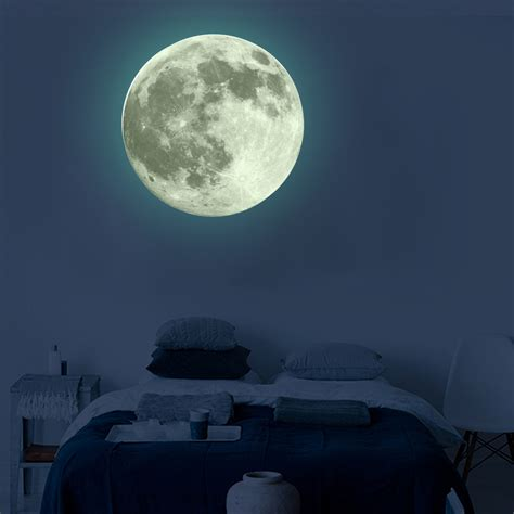 pvc luminous wall sticker glow full moon poster waterproof