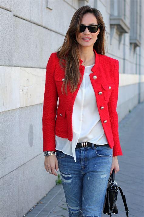 Red tweed jacket looks - Lady Addict