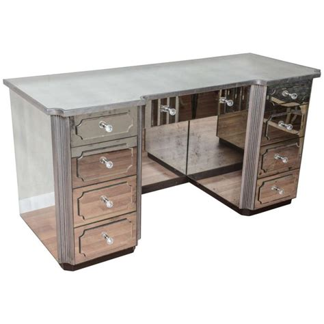 desk with drawers and mirror mirrored dressing table or vanity with nine drawers