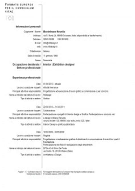 esempio reale di curriculum vitae europeo modello curriculum