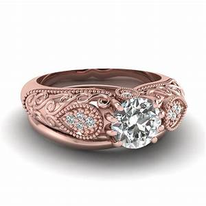 Rose Gold Round White Diamond Engagement Wedding Ring In ...